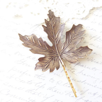 Extra Large Ox Brass Leaf Hair Pin - Bobby Pin - Maple Leaf - Woodland Collection - Whimsical - Nature - Bridal