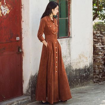VERRAGEE 2018 autumn new vintage women turn-down collar blue black khaki dress three Quarter Sleeve High Waist long Maxi Dress
