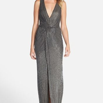 Women's Parker Black 'Monarch' V-Neck Beaded Gown,