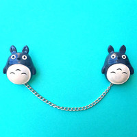 "Handmade ""My Neighbor Totoro"" Sweater or Collar Clips"
