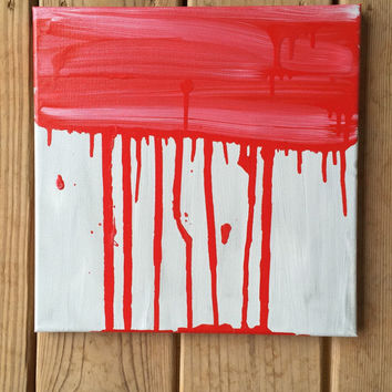 Red Abstract Painting, Drip Painting, White Abstract, Red Wall Art, White Wall Art, Original Painting, Small Canvas Art, 12x12 Modern Art