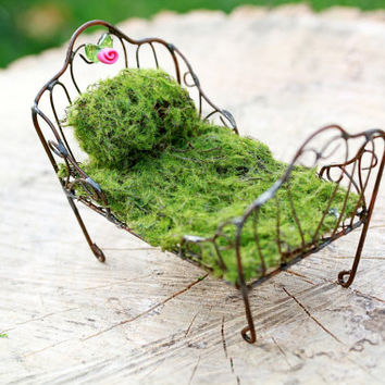 Fairy Bed furniture miniature accessory for fairy garden accessories moss polymer clay flower