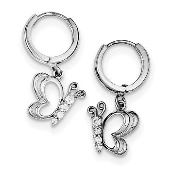 Sterling Silver Rhodium-plated CZ Butterfly Dangle Hinged Hoop Earrings QE9233