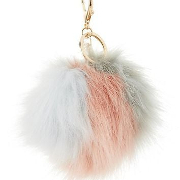 Striped Faux Fur Ball Keychain
