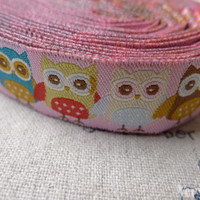 10 Yards (9.1 Meter) Yarn Weave Stitched Owl Ribbon Label String A6856