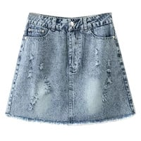 Blue Light Wash High Waist Pencil Mini Skirt