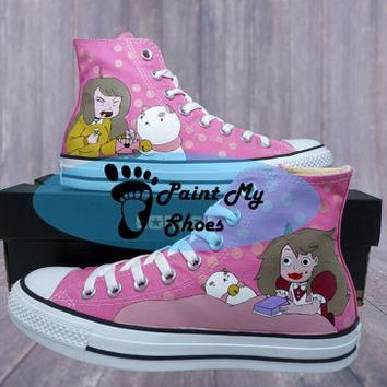 Bee and puppycat, converse, hand painted shoes, anime shoes, free shipping in the US
