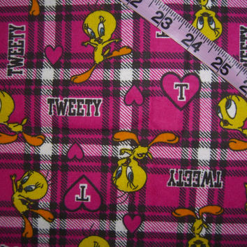 Kids Flannel fabric with Tweety Bird pink plaid heart Looney Tunes cotton quilt quilting sewing material to sew by the yard crafting project