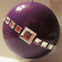 PURPLE RHINESTONE CHRISTMAS ornament (silver gemmed hook included)