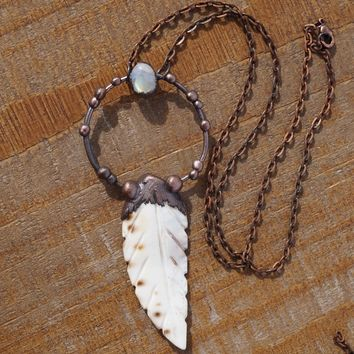 Rainbow Moonstone and Feather Pendant Necklace