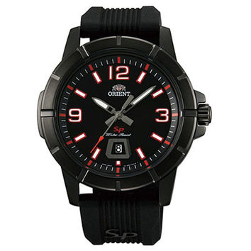 Orient UNE9009B Men's SP Black IP Steel Red Accent Black Dial Rubber Strap Watch