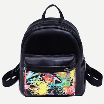 Unisex Backpack Female Girls Boys Print Pattern Artificial Leather Backpack School Book Travel Women Casual Fashion Backpack Bag