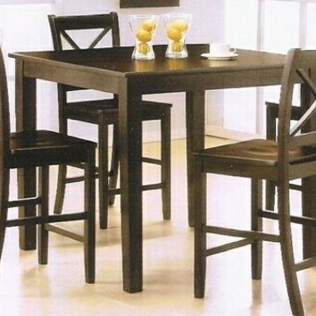 """5 pc espresso finish wood """"X"""" back design chairs counter height small dining table set"""
