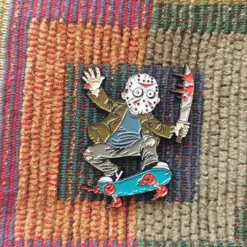 1980's Horror Movie Jason Voorhees Skateboarding Skateboard Art 80s Hat Pin