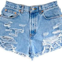 MADE TO ORDER: High Waisted Distressed Jean Shorts