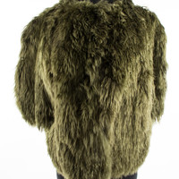 Olive Alpaca Fur Short Coat with 3/4 Sleeves