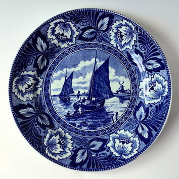 China Blue plate, wall plate, Delfts Blue, chinoserie