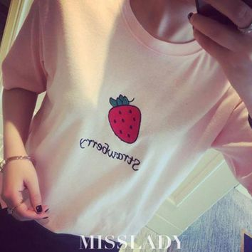 ONETOW Day-First? Strawberry Printed T Shirt
