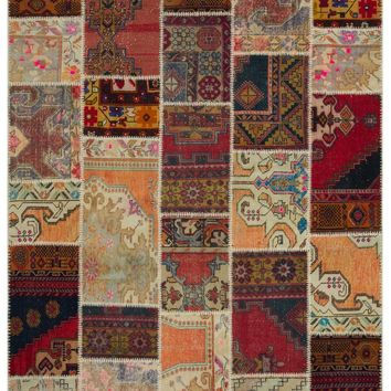 ANATOLIA OVERDYED PATCHWORK UNIQUE RUG 6'4'' X 9'2'' FT 192 X 280 CM