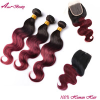 Online Shop Burgundy Brazilian Virgin Hair With Closure Ombre Brazilian Hair With Closure Weave With Closure Ombre Body Wave With Closure | Aliexpress Mobile