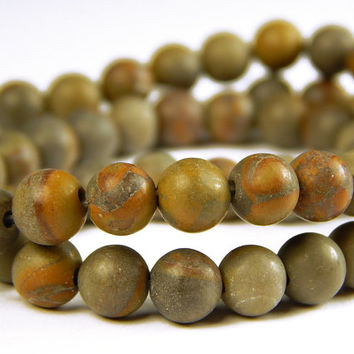 15 Inch Strand - 6mm Round Brown Jasper Beads - Gemstone Beads - Jewelry Supplies