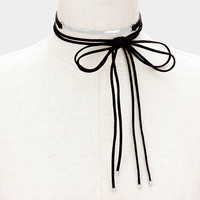 Curved Metal Bar Faux Suede Tie Wrap Choker Necklace