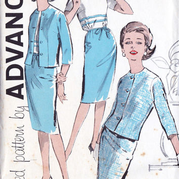 "1960s Junior Petites Dress and Jacket Vintage Sewing Pattern, Office Fashion, Spring Fashion, Advance 9795 bust 32.5"" uncut"