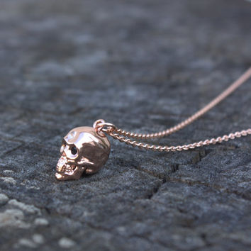 Rose Gold Skull Necklace - Pink Gold Skull Pendant . 14K Rose Gold Filled Chain . Black Cubic Eyes