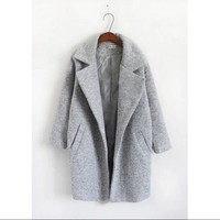 2017 Women Autumn and Winter  Grey Wool Coat