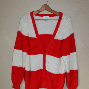 Vintage Sweater Cardigan Sweater Striped Cable Knit Sweater Red and White Christmas Sweater Ugly Christmas Sweater Size Large