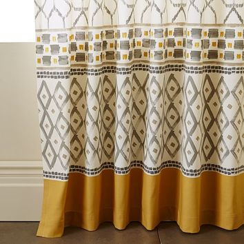 Cotton Canvas Medina Border Curtain