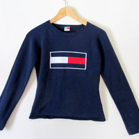 New Tommy Hilfiger Sweater Tommy Flag Logo Size Small Vintage Style-New Condition 100% Cotton Knit Sweater Red White &Blue Preppy Hip Unique