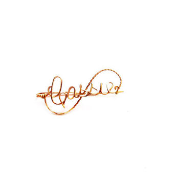 Handmade CASSIE Brooch, Gold Wire Name Pin