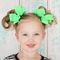 Neon Green Bows, Neon Bows, Piggy Bows, Basic Boutique Bows, Hairbows, 4 Inch Bows, Baby Bows, Pigtail Bows, Piggies, Pigtail Set