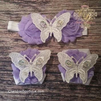 Purple Shabby and White Lace Butterflies Baby Girl Headband and Barefoot Sandal Set!