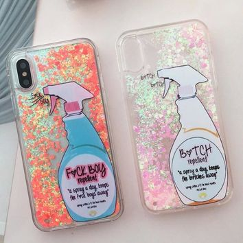 For iPhone X Quicksand Bitch Repellent Boy Spray Glitter Liquid Case Cover For iPhone 8 6 6S 7 Plus
