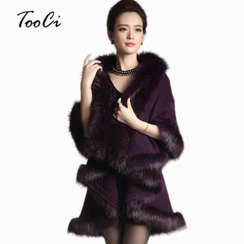 Women Faux Fur Coat Long Cardigan Sweater Cape Shawl Luxury Faux Fur Collar Knitted Sweater /winter Capes And Poncho