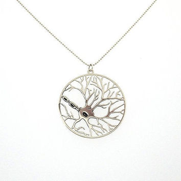 Newest fashion Neuron in a circle necklace psychology necklace biology jewelry YLQ0349