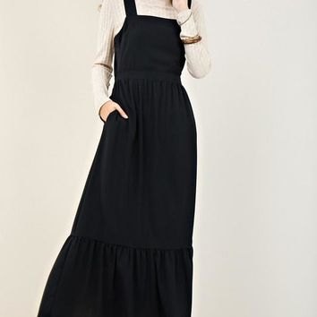 Black Tieback Ruffle Maxi Dress