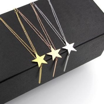 Martick Europe Style Stars Love Letters Pendant Necklace With Round Bar Tassel For Woman Steel Double Link Necklace P37