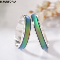 New Fashion 12 Color Changing Mood Rings Temperature Emotion Feeling Rings For Women Men Fine Jewelry Bright Silver Tone 1PC