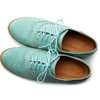 Ollio Women's Shoes Ballet Flat Faux-Suede Wingtip Lace Up Oxford