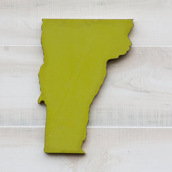 Vermont or any US state shape sign wood cutout wall art with heart or star. 24 Colors. Wedding Country Chic College Sports Fan Decor Gift
