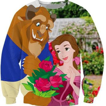 Beauty and the Beast Crewneck Sweatshirt Beautiful Rose Sweats 3D Printed Outfits Jersey Jogger Tracksuit Cartoon  Tops
