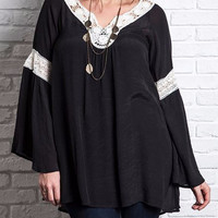 Umgee Tunic Top Bell Sleeve-Lace Inset -Plus-Black