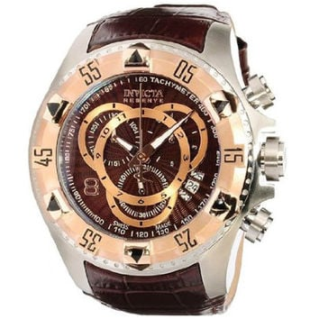 Invicta 11014 Men's Reserve Excursion Rose Gold Tone Bezel Brown Textured Dial Leather Strap Chronograph Dive Watch