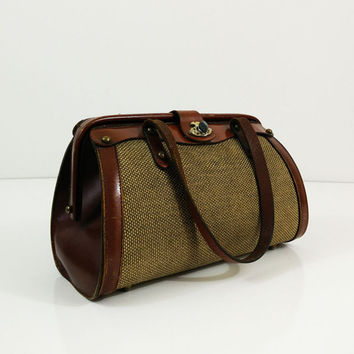 Vintage brown leather and tweed handbag with twist clasp