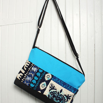 Tote Bag Sling Purse Cross Body in Navy Blue and Teal
