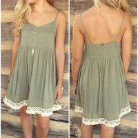 Garden Breeze Olive Babydoll Dress With Embroidered Crochet Lace Fringe Hem