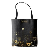 Gold heart pattern on black add name tote bag